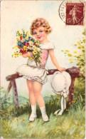 Fillette Au Bouquet - Illustratori & Fotografie