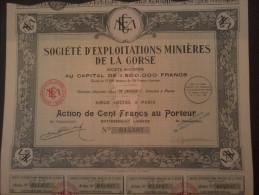 LOT  3  Sté Exploitations Minières La CORSE, Action 100 FR + Tous Ses Coupons  (  Dispo 45 Ex ) - Shareholdings