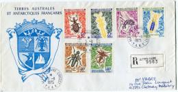 T. A. A. F. LETTRE RECOMMANDEE DEPART ALFRED-FAURE-CROZET 5-11-1975 POUR LA FRANCE - Storia Postale