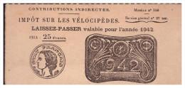 IMPOT SUR LES VELOCIPEDES Laisser-passer 1942 (PPP0577) - Vieux Papiers