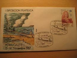 PORTUGALETE PAIS VASCO 1987 Exp Fil Barcos Ships Bateau Matasellos Especial Cancel Sobre Ilustrado Cach Cover Lettre - 1931-Oggi: 2. Rep. - ... Juan Carlos I
