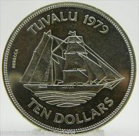 1979 TUVALU 10 DOLLARS BRIGANTINE REBECCA SILVER PLATA (r. 6020) - Monete