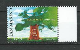 San Marino 2002 The 10th Anniversary Of The Maastricht Treaty - Treaty On European Union.MNH - San Marino