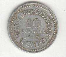Jeton 10 Centimes 1919 Ville De Gex ( Ain ) - Monetari / Di Necessità