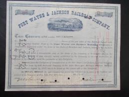 USA - Fort Wayne & Jackson Rail Road Company (Timbres Au Verso) - Chemin De Fer & Tramway