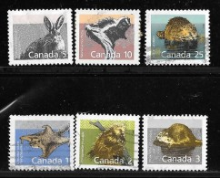 CANADA  1988  USED ,# 1155-61. MAMMALS: Flying Squirrel, Porcupine, Muskrat, Hare, Skung, Beaver - Oblitérés