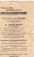 Document, 2 Volets,  Laboratoire D'analyse De Recherches Biologiques, RONCHESE à NICE, De 1931 - Australia