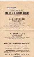 Document, 2 Volets,  Laboratoire D´analyse De Recherches Biologiques, RONCHESE à NICE, De 1931 - Australie