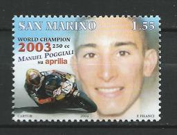 San Marino 2004 Motorcycling-Manuel Poggiali World Champion 250cc Class, 2003.Sport/Motorcycle Racing.Transportation.MNH - Unused Stamps