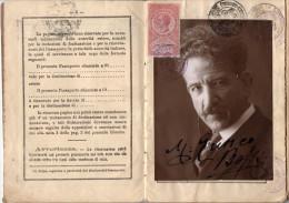 PASSAPORTO DEL COMPOSITORE MARCO ENRICO BOSSI MAESTRO ORGANISTA CON FOTO AUTOGRAFA - WITH PHOTO AUTOGRAPHED - Historische Dokumente
