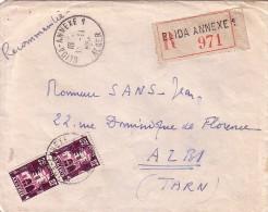 ALGERIE - BLIDA-ANNEXE 1 - ALGER - LETTRE RECOMMANDEE DU 13-11-1956 - SUPERBE. - Cartas