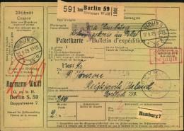 """1929: Selbstbucher Paketkarte """"Gebühr Bezahlt"""" BERLIN S 59 Nach Reykjavik, Island-seltene Destination - Deutschland"""