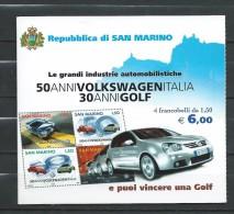 San Marino 2004 The 50th Anniversary Of Volkswagen Italy & The 30th Anniversary Of VW Golf.Booklet.carnet.MNH - Unused Stamps