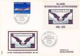 SCHWEIZ 1972 - 2+1 FR (Ank979) + Block 50 Jahre Int.Luftpostverkehr Auf Brief