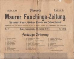 RARITÄT! MAURER FASCHINGS-ZEITUNG 1903, Ausgabe 22.2.1903, Preis 10 Kr, Zeitung Bestehend Aus 4 Seiten ... - Sonstige