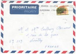 CANADA - 1995 - Prioritaire - 90 Elberta Peach - Viaggiata Per Nouilly, France - Lettres & Documents