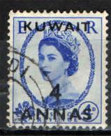 KUWAIT - 1956 - EFFIGIE DELLA REGINA ELISABETTA II CON SOVRASTAMPA 4 ANNAS SU 4 P. - USATO - Kuwait