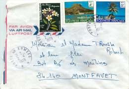 1979  Lettre Avion Pour La France  Paysages: Raiatea 135, Fare Aux Tuamotu 137,  Fleurs PA 127 - Polynésie Française
