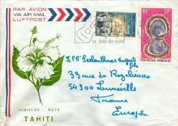 1970    Lettre Avion Pour La France   Danseuse PA7, Huitre Perlière PA 37 - Polynésie Française