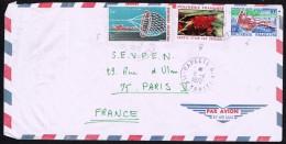 1972  Lettre Avion Pour La France    TPirogue De Lagon 38, Panier De Pêcheur PA 34, Fleur Rouge 83 - Polynésie Française