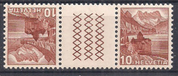 SVIZZERA 1943 INTERSPAZI VEDUTE SASS. S55 FRANCOBOLLO 387+387  MNH XF - Tete Beche