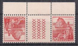 SVIZZERA 1938 INTERSPAZI VEDUTE SASS. S56Y  FRANCOBOLLO 312+312  MNH XF - Tete Beche