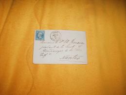 ENVELOPPE UNIQUEMENT ANCIENNE DE 1867. /  PARIS  A NANTES  / CACHETS + OBLIT. A IDENT. + TIMBRE. - Marcofilia (sobres)