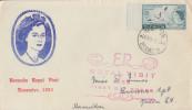 Enveloppe  1er  Jour   BERMUDES   Visite  Royale   HAMILTON    1953 - Bermudes