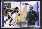 Republic De Guinee Olympics  Eddie Tolan  Mnh Stamp Pair With Pierre De Coubertin