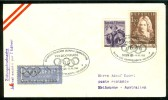 AUSTRIA Olympic Flight With Nr. 3 In Cancel And Olympiaflug 1956 With Olympic Rings On The Airmaillabel Very Rare - Summer 1956: Melbourne