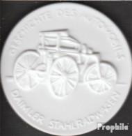 Deutschland Geschichte Des Automobils Daimler Stahlradwagen Vorzüglich Vorzüglich Porzellanmedaille Meissen - Germania
