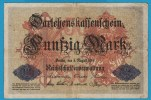 DEUTSCHES REICH 50 MARK 05.08.1914  P# 49a  SERIAL# C.920726  DARLEHENSKASSENSCHEINE - [ 2] 1871-1918 : Empire Allemand