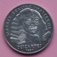 """Pièce De 100 Francs 1991 """" René Descartes """" - Argent 900/1000 - N. 100 Francos"""