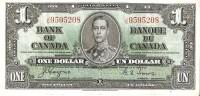 BILLETE DE CANADA DE 1 DOLLAR DEL AÑO 1937 CALIDAD EBC (XF)  (BANKNOTE) - Canada