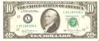 BILLETE DE ESTADOS UNIDOS DE 10 DOLLARS DEL AÑO 1981 SERIE L (BANK NOTE) HAMILTON - Billetes De La Reserva Federal (1928-...)