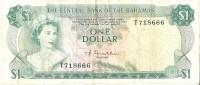 BILLETE DE BAHAMAS DE 1 DOLLAR DEL AÑO 1974  (BANKNOTE) PEZ-FISH - Bahamas