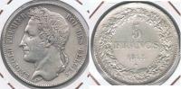 BELGICA BELGIQUE 5  FRANCS 1848 PLATA SILVER Y - 1831-1865: Léopoldo I
