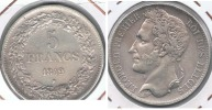 BELGICA BELGIQUE 5  FRANCS 1849 PLATA SILVER Y - 11. 5 Francos