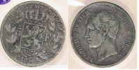 BELGICA BELGIQUE 5  FRANCS 1850 PLATA SILVER Y - 1831-1865: Léopoldo I