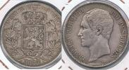 BELGICA BELGIQUE 5  FRANCS 1865 PLATA SILVER Y - 11. 5 Francos