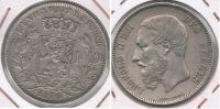 BELGICA BELGIQUE 5  FRANCS 1870 PLATA SILVER Y - 1865-1909: Leopoldo II
