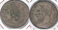 BELGICA BELGIQUE 5  FRANCS 1873 PLATA SILVER Y - 1865-1909: Leopoldo II