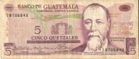 BILLETE DE GUATEMALA DE 5 QUETZALES DEL AÑO 1973  (BANKNOTE) RARO - Guatemala