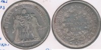 FRANCIA 5 FRANCS  1873 A PLATA SILVER Y - J. 5 Francos