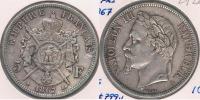 FRANCIA 5 FRANCS  NAPOLEON III 1867 A PLATA SILVER Y - J. 5 Francos
