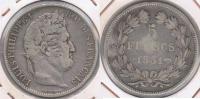 FRANCIA 5 FRANCS LOUIS PHILIPPE 1831 BB PLATA SILVER Y - J. 5 Francos