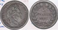 FRANCIA 5 FRANCS LOUIS PHILIPPE 1837 A PLATA SILVER Y - J. 5 Francos