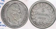 FRANCIA 5 FRANCS LOUIS PHILIPPE 1837 B PLATA SILVER Y - J. 5 Francos