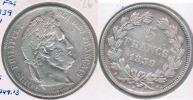 FRANCIA 5 FRANCS LOUIS PHILIPPE 1839 W PLATA SILVER Y - J. 5 Francos
