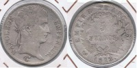 FRANCIA FRANCE 5 FRANCS  NAPOLEON 1812 L PLATA SILVER X - J. 5 Francos